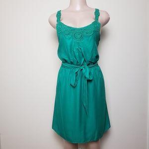 LAUREN CONRAD Green Summer Tie Waist Dress